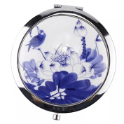 EYX Formula Double-sided Folding Compact Ceramic Chinese Drawing Pocket Make Up Purse Cosmetic Mirror