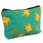 Black Ginger Lightweight Holiday / Weekend WASH BAG / Make-up Bag / Compact Toilet Bag - Pineapple