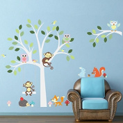 Zooarts Monkey Owls Rabbit Tree Playing Wall Sticker Decals