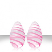 Crystal Premium Glass Eggs - Pink Strips Crystal Premium Glass Eggs - Pink Strips