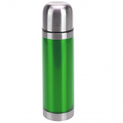 GREEN STAINLESS STEEL METALLIC THERMOS FLASK 0.5L HOT COLD DRINKS TEA COFFEE