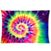 Colourful Tie Dye Two Sides Rectangle Zippered Pillowcase Pillow Cover 20x30