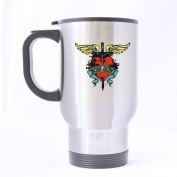 Bon Jovi Fonts Cross Heart Custom Travel Mug Sport Bottle Cup 410ml Office Home Cup