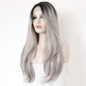 60cm Black & Grey Long Wavy Lady Fashion Daily Heat Resistant Lace Front Hair Wig