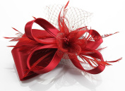 Red Feather and Floral Mesh Fascinator with PreciousBags Dust Bag
