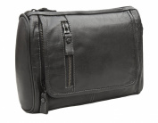 Prime Hide Outback Range Luxury Black Leather Hanging Wash Bag / Toiletry Bag