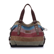 Striped Tote Bag, iTECHOR Multi-Colour Striped Canvas Totes Handbag Women's Hobos and Shoulder Cross-body Bags