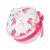 Neoviva Floral Fabric Coated Fully Padded Pin Cushion in Cupcake Shape with Satin Ribbon Knot for Long Needle Storage, Floral Polka Dots Roses