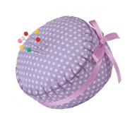 Neoviva Floral Fabric Coated Fully Padded Pin Cushion in Cupcake Shape with Satin Ribbon Knot for Long Needle Storage, Polka Dots Bright Purple