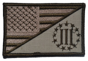 Three Percenter Emblem / USA Flag 2.25x3.5 Military Patch / Morale Patch - Desert Tan
