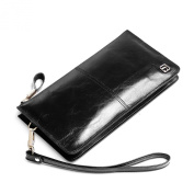 Teemzone Mens Genuine Leather Clutch Bag Handbag Organiser Chequebook Wallet Card Case fits For 15cm Cellphone Women
