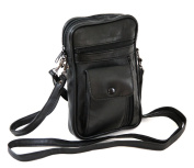 Multipoches bag - Leather - Italian - Dual Straps - Unisex - Black - One size