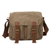 Panegy Men's and Women's Casual Canvas Shoulder Bag Retro Style Shoulder Messenger Bag Socks - Brown/Green