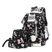 SymbolLife Casual UK Style Lightweight Canvas Laptop Bag/ Shoulder Bag/ Bookbag/ School Backpack with Cross-body Bag and Purse/Pen Bag Black