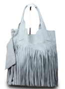 Made In Italy Suede Fringe Bag Shoulder Bag Shopper Bag Light Grey