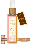 BodyHerbals Ancient Ayurveda Calming, Rose Geranium Cold Pressed Body Massage Oil 100ml and Natural Wooden Massager,