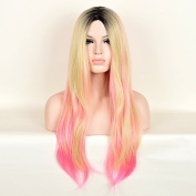 AnDao 70cm Long Omber Blonde Pink Straight Hair Wig Paste Synthetic Queen Black Root Women Girl Fashion Cheap Party Natural Wig AD3070