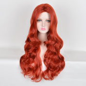 AnDao 50cm Long Curly Wavy Wig women fashion wigs Wine Red Wavy Wig Full Cosplay party wig AD3036