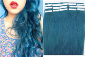 100% Indian Remy Human Hair Extensions PU Tape in Fashion hair piece 20pcs 41cm colour Blue