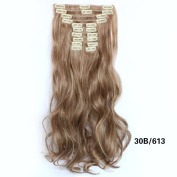 NiCheng 50cm 150g 12pcs/set Curly/wavy Full Head Clip-in Hair Extensions Synthetic Blend Colour hairpiece