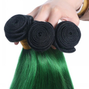 Brazilian Virgin Hair Ombre Hair Extension 2Tone 1B/Green Ombre Queen Love Human Hair Weave Ombre Green Hair Extensions