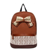 Fanessy Denim Cloth Lace Butterfly Knot Fashion Sweet Cute Style Cross Shoulder School Bag BackPack