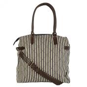 Womens Stripe Aztec Canvas Large Cross Body Shoulder Bag Handbag