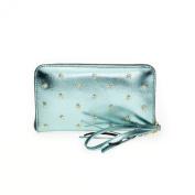 Fab by Fabienne Women's Star stud purse big Baguette Handbag Blue glossy ocean blue metallic