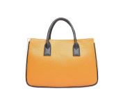 JoSa - Yellow & Cream Block Tote Shopper Bag - Magnetic fatening with top handles.