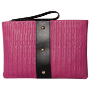 RI2K Canonbury Pink Orchid Black Leather Clutch