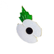WHITE GLITTER POPPY FOR PEACE