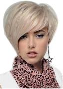 LongOu euramerican fashion handsome white short straight hair wig