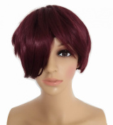 LongOu Fluffy short straight wig wine red, special price