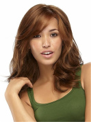 Elegant Women Occidental Style Shoulder-length Light Brown Curly Layered Daily Hair Wigs
