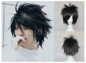 Kadiya Cosplay Wig Death Note L.Lawliet Short Stylish Black Synthetic Hair