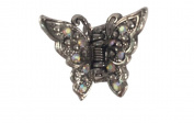 Small Four Prong Silver Coloured Butterfly Clip with Iridescent Rhinestones - J17