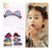 Yaslnn 12pcs Baby Girls Lovely Cat Ears Hair Clips