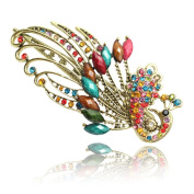 QWY Vintage pearly peacock shaped beauty crystal diamond Jewellery clip Hair Clips Claw Barrettes Accessories Beauty Tools