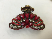 Gorgeous Vintage Jewellery Crystal Rhinestone Flower Design Fashion Hair Claw Clips Hair Jaws Hair Jaw Clips -X- Large Size - Ruby Colour -For Thick Hair Beauty Tools