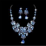 Sunshiny Wedding Bridal Rhinestone Crystal Necklace Earrings Sets