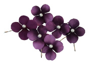 Olini Handmade Set of 6 Flower Hair Pins with Pearls, Bridesmaids Hair Pins, Handcrafted Pins