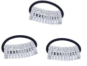 FUMUD 3PcsDesigner Fashion Elastic Rhinestone Hairtie Ponytail Holder Headband Jewellery Accessories for Women Girls Hair Band