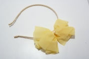 Chicky Chicky Bling Bling Girls Yellow Chiffon Bow Headband Womens yellow