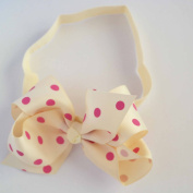Chicky Chicky Bling Bling Girls Ivory Polka Dot Chunky Bow Headband Womens Ivory and Pink dot