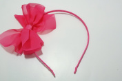 Chicky Chicky Bling Bling Girls Hot Pink Chiffon Bow Headband Womens Hot Pink