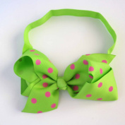 Chicky Chicky Bling Bling Girls Lime Polka Dot Chunky Bow Headband Womens Pink and Lime dot
