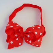 Chicky Chicky Bling Bling Girls Red Polka Dot Chunky Bow Headband Womens Red and White dot
