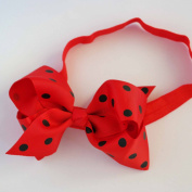 Chicky Chicky Bling Bling Girls Black and Red Polka Dot Chunky Bow Headband Womens Red and Black Dot