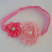 Chicky Chicky Bling Bling Girls Pink Flowers Soft Elastic Headband Womens Pink and Pink