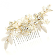 Mariell Designer Bridal Hair Comb with Hand Painted Gold Leaves and Pave Crystals